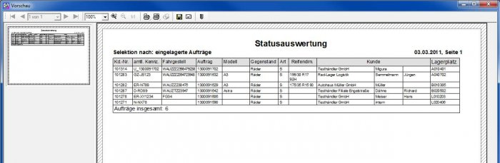 Screenshot Status-Auswertungen des ILSE RäderManagers