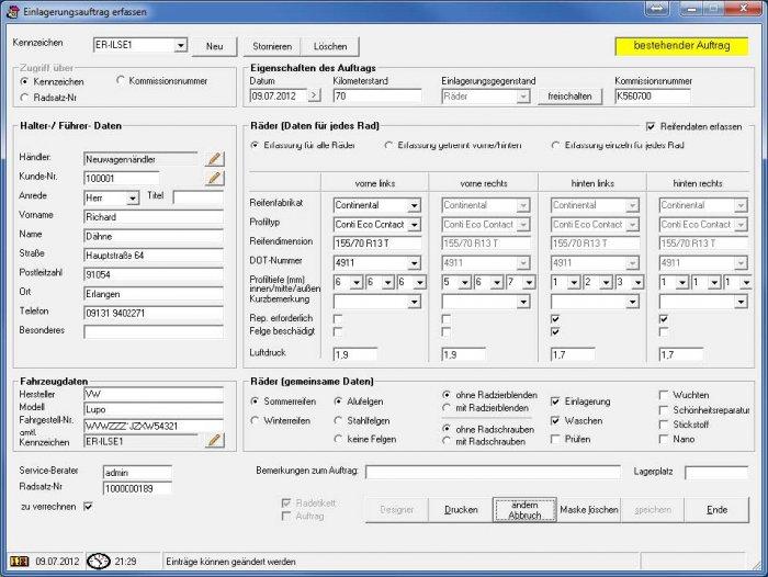 Screenshot Dateneingabe für Einlagerungsauftrag des ILSE RäderManagers