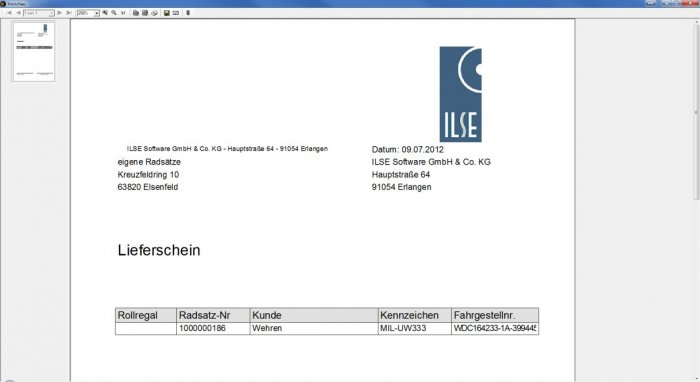 Screenshot Lieferschein des ILSE RäderManagers