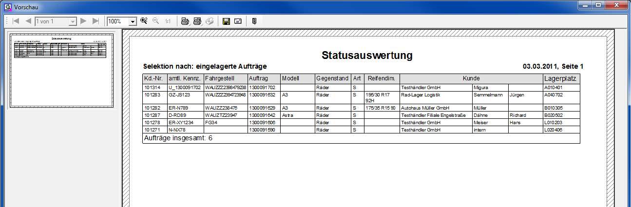 Screenshot Status-Auswertungen des ILSE RäderManagers