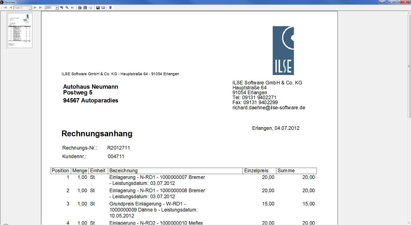 Screenshot Rechnungsstellung des ILSE RäderManagers