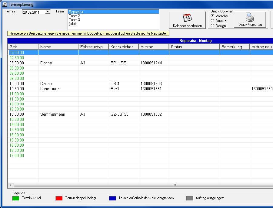 Screenshot Terminplanung des ILSE RäderManagers